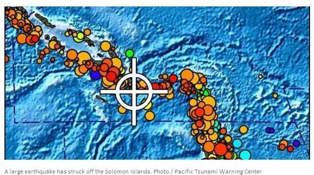 所罗门群岛今晨发生强震 新西兰或面临海啸危险