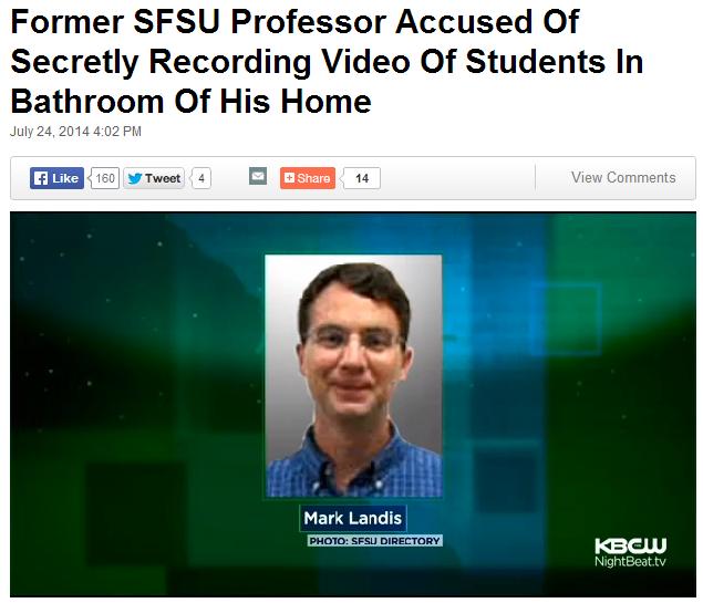美旧金山变态教授卫生间藏摄像头偷拍女生如厕