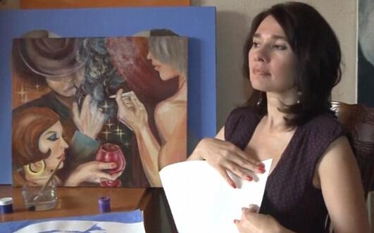 牛!俄罗斯女艺术家用胸部作画画普京肖像(图)